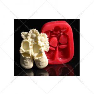 قالب فوندانت کفش نوزاد گلدار