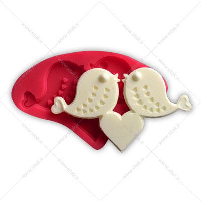 قالب فوندانت کبوتر قلب دار